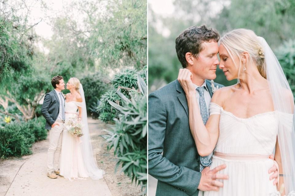 Couple Embracing At Estancia La Jolla Wedding In San Diego