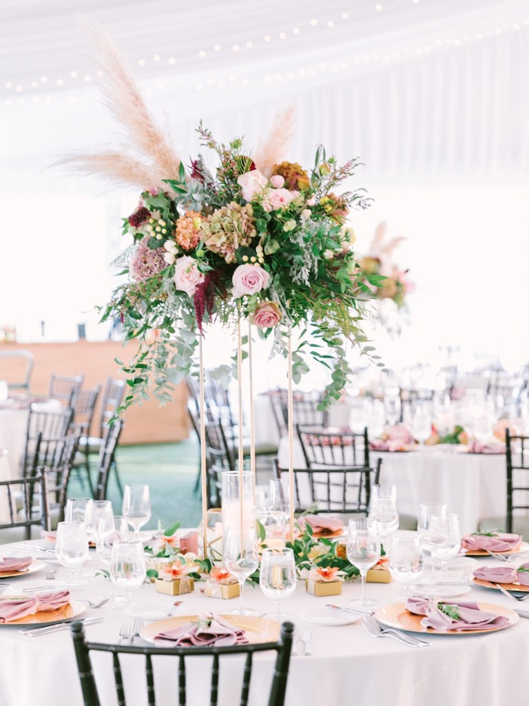 Blush and Mauve Velvet and Pampas Grass Wedding Details At Lake Tahoe Wedding Venue, The Resort At Squaw Creek Wedding
