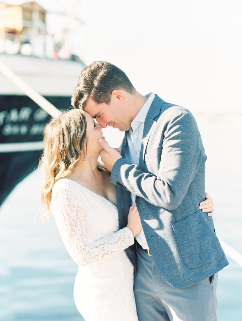 Couple Posing At The Star Of India | Downtown San Diego Bay Courthouse Wedding Shot On Film By Mandy Ford Photography