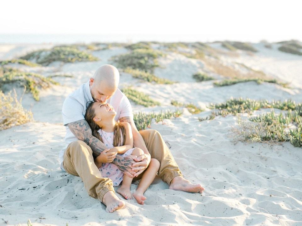 Father and daughter at Hotel Del | light and airy Coronado family session shot on film by Mandy Ford