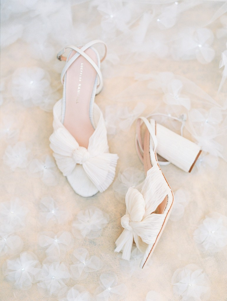 Strappy Bow Tulle Bridal Heels | Jewish Wedding in Orange County