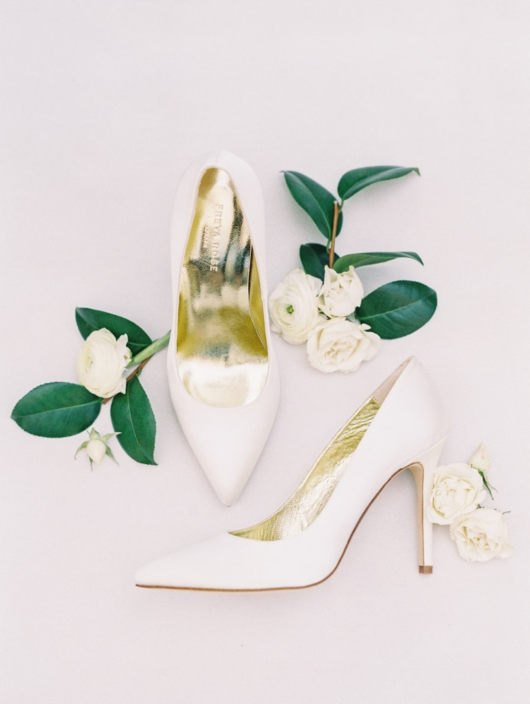 Simple White Classic Bridal Shoes By Freya Rose | Shot on film by San Diego photographer, Mandy Ford