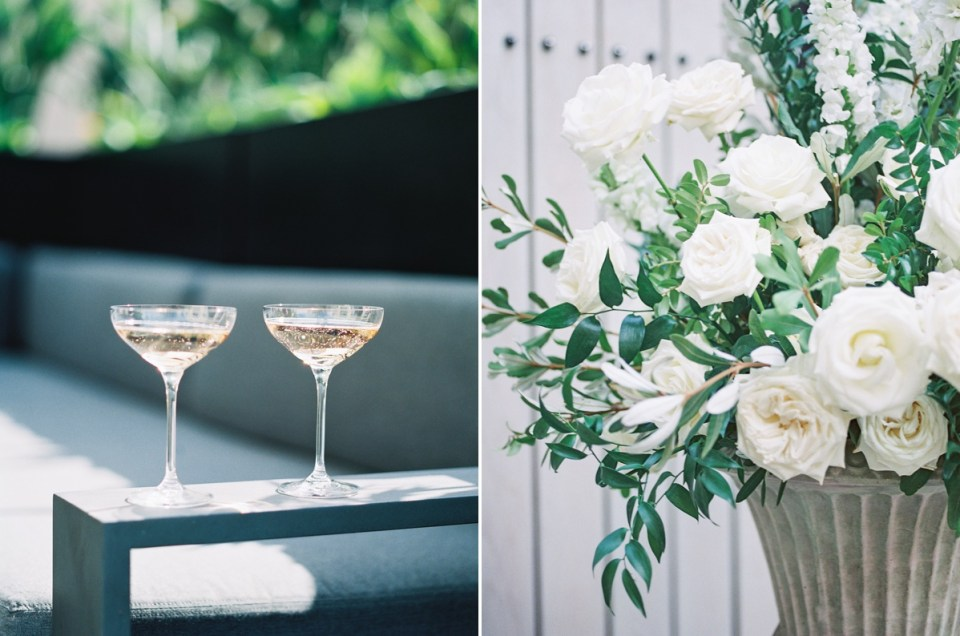 Simple, White Garden Roses and Greenery Wedding Flowers | Shot on film by San Diego photographer, Mandy Ford