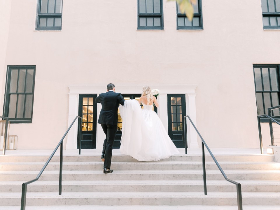 Bride and Groom at The Guild Hotel in San Diego | Classic and Elegant Wedding Theme | Shot on film by Mandy Ford Photography