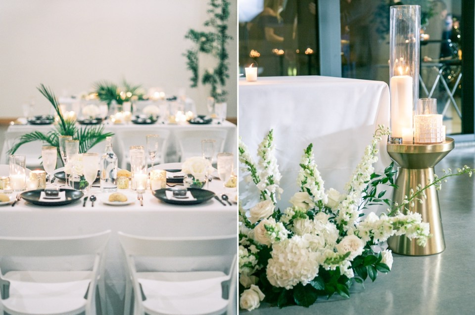 The Lane San Diego Wedding Venue Overlooking San Diego Bay | Black and white tablescape
