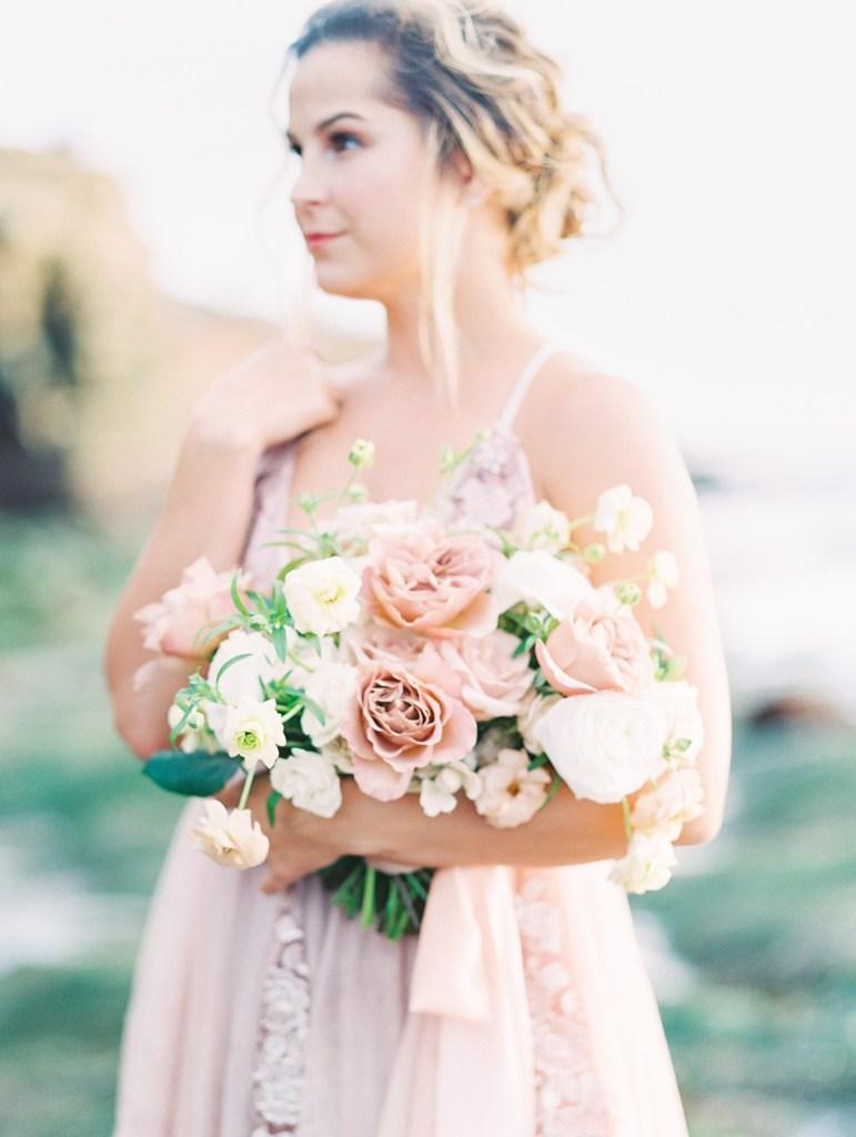 Muted Pink Dusty Rose Bouquet at Sunset Cliffs Micro Wedding Elopement
