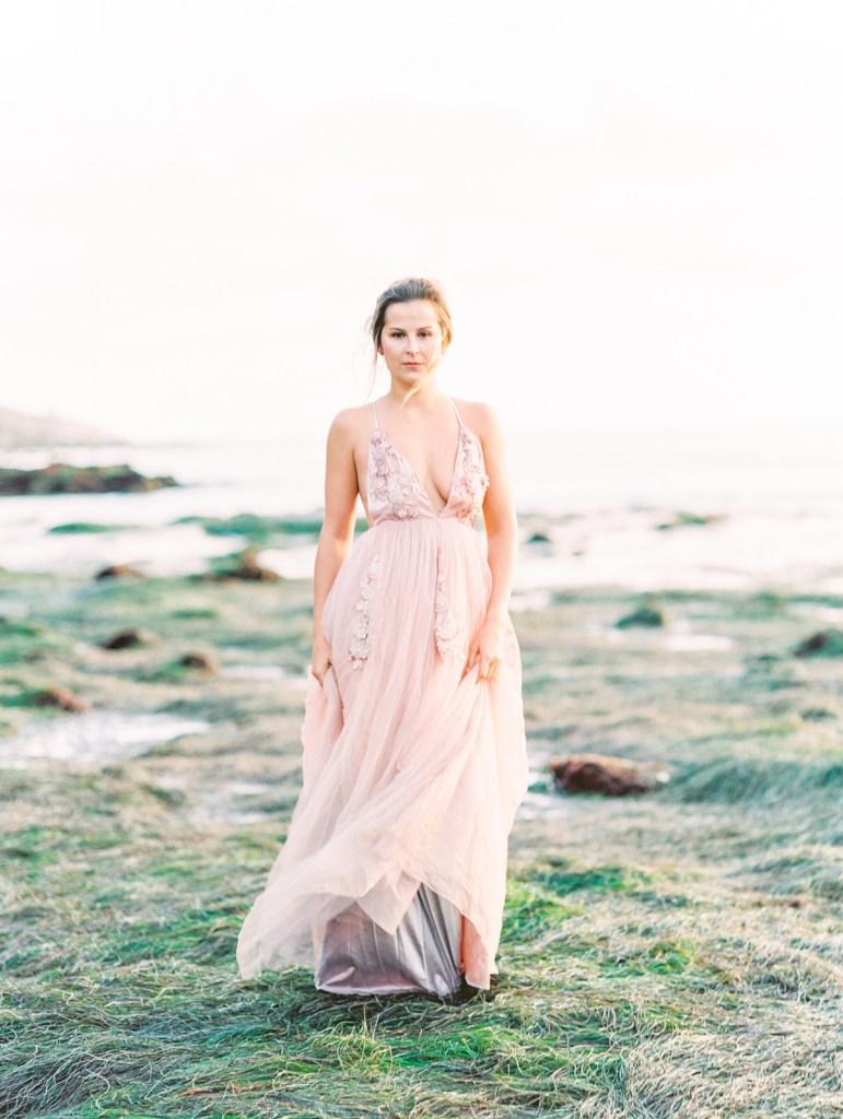 Blush Wedding Gown   San Diego Sunset Cliffs Elopement Micro Wedding