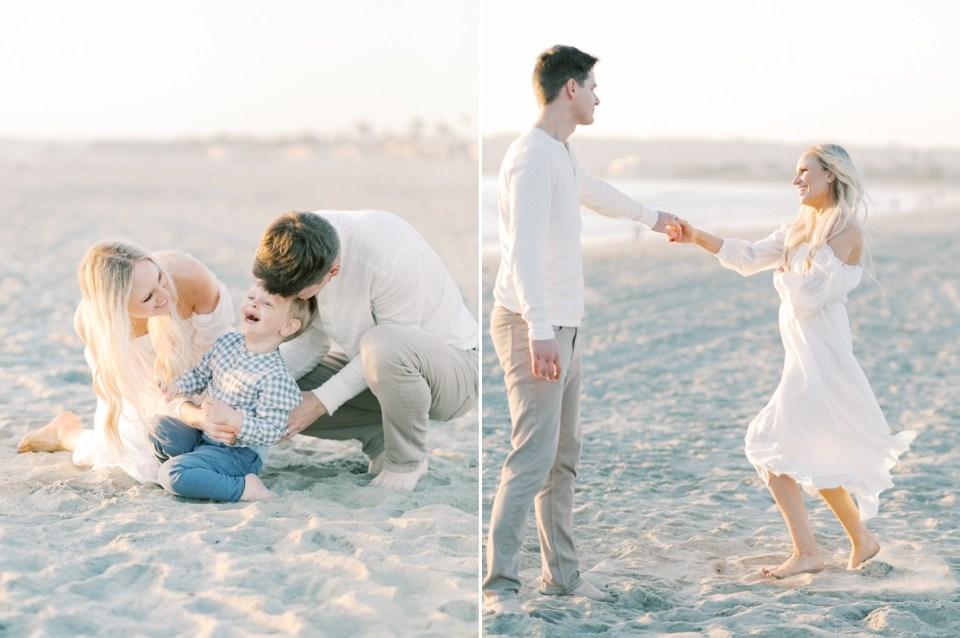Playful Coronado family photo session on the beach   Wardrobe inspiration