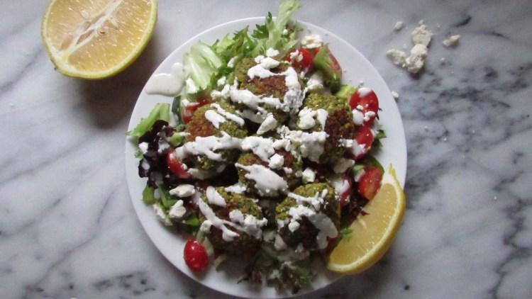 lemon-yogurt-dressing-on-baked-falafel-salad