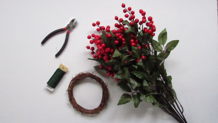 wire cutters, floral wire, grapevine wreath, red and green floral