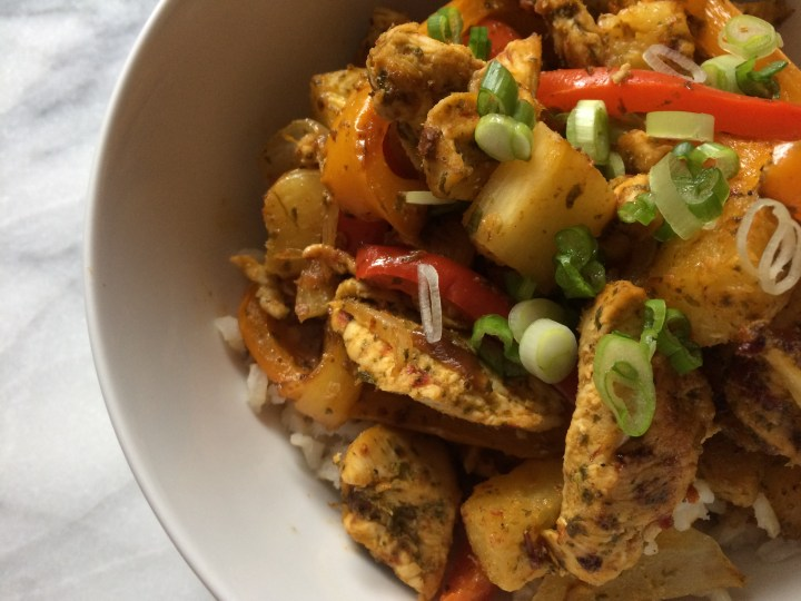 Chipotle chicken rice bowl close up