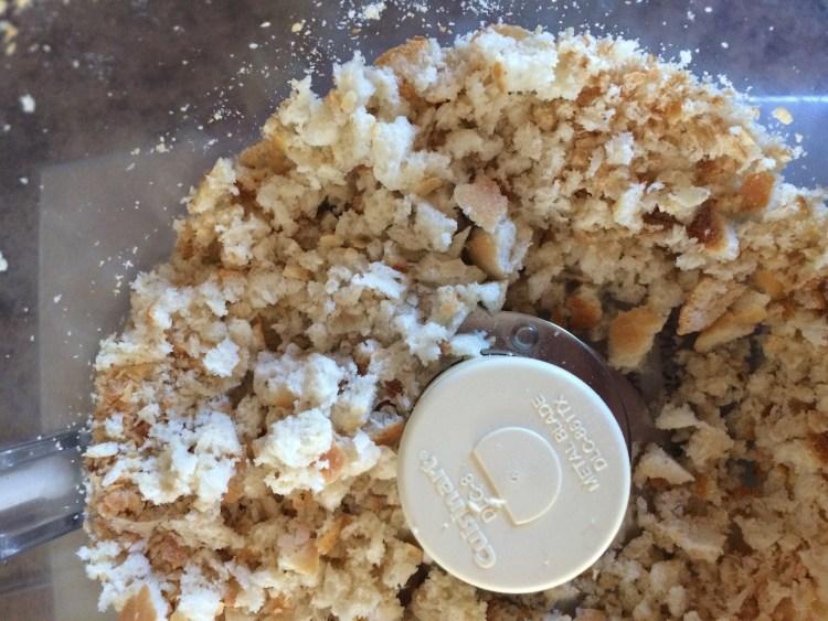 Fresh breadcrumbs in food processor