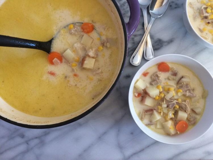 Chicken Corn Chowder in Dutch oven and bowls