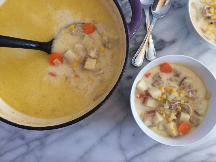 Chicken Corn Chowder in Dutch oven and bowls