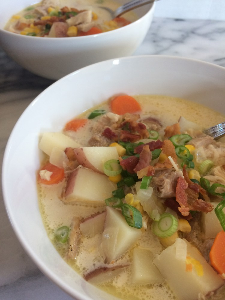 Chicken Corn Chowder in bowls topped with bacon and scallions