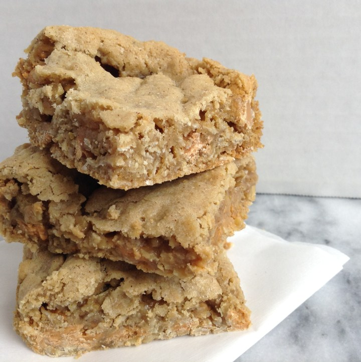 Chilled oatmeal scotchie bars stacked