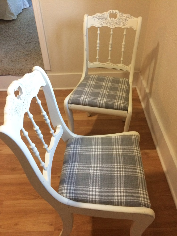 Reupholstered and painted chairs