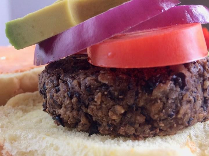 Black bean burger on bun