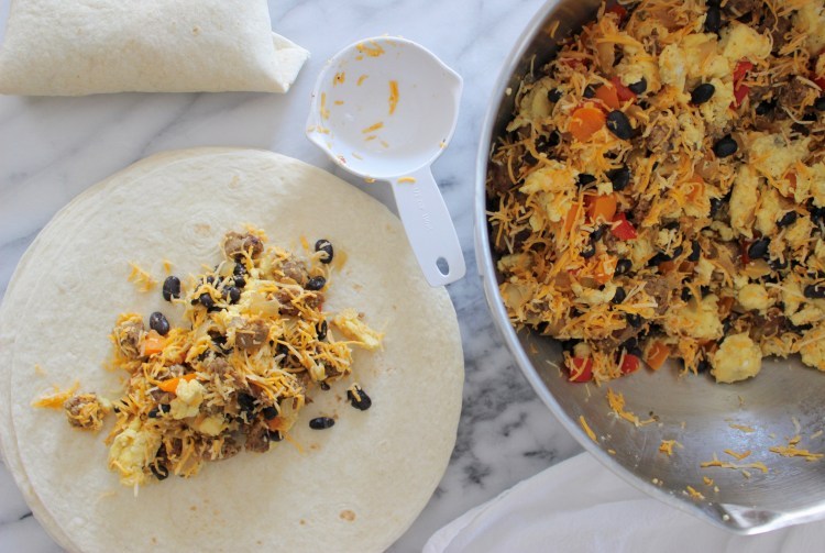 Assembling Breakfast Burritos