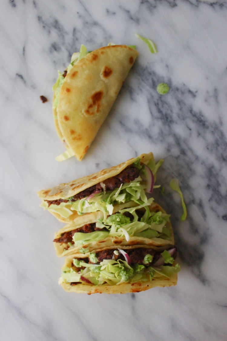 Smashed Black Bean Tacos with Creamy Jalapeno Slaw