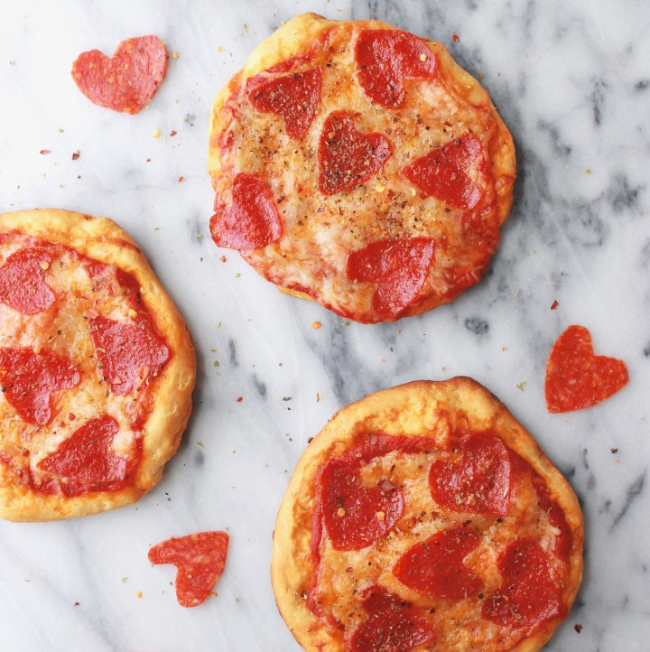 Individual Pepperoni Pizzas with Homemade Pizza Sprinkle