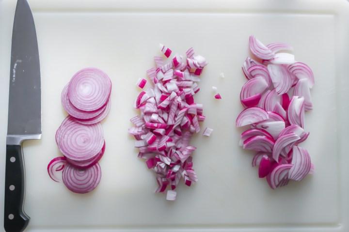 onion rings, diced onion, sliced onion