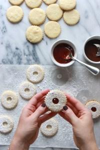 assembling linzer cookies