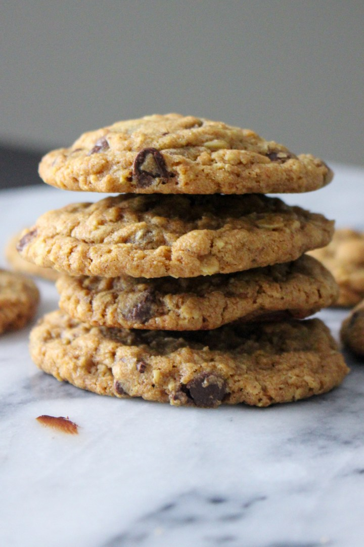 soft and chewy oatmeal chocolate chip cookies with brown sugar and molasses