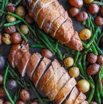 sheet pan pork tenderloin with spring vegetables