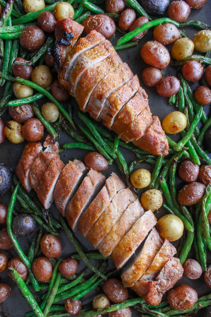 sheet pan pork tenderloin with spring vegetables