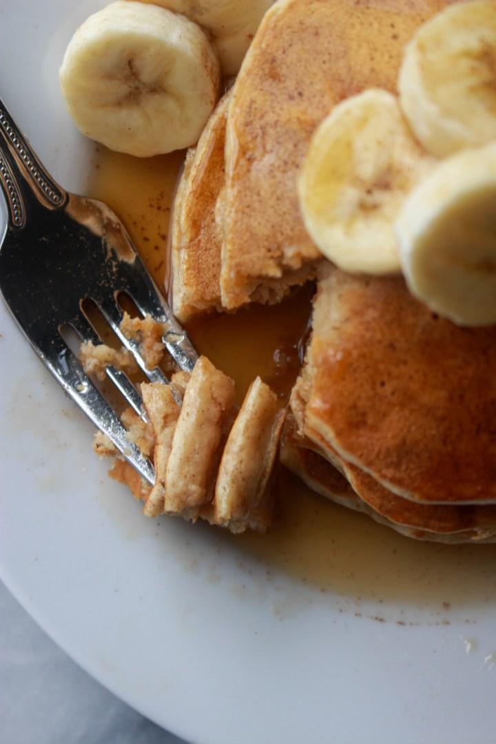 forkful of banana pancakes