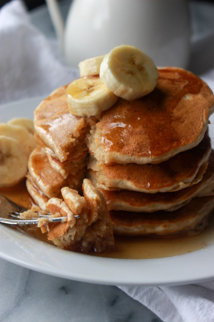 forkful of homemade banana pancakes