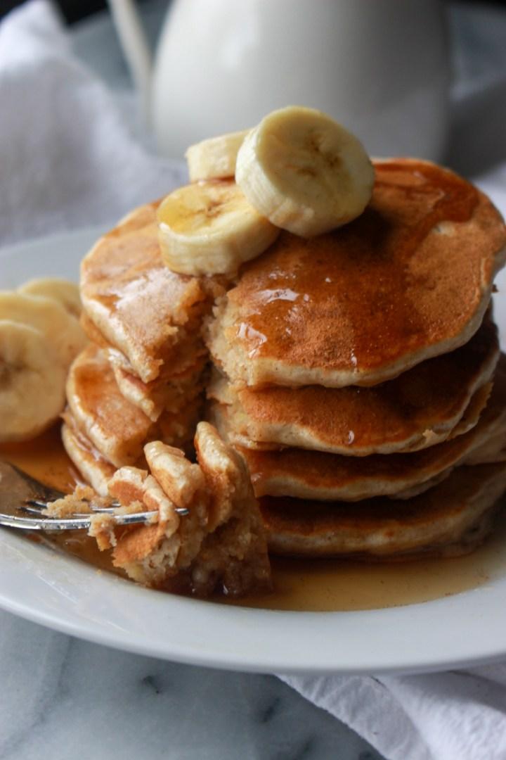 forkful of homemade banana pancakes