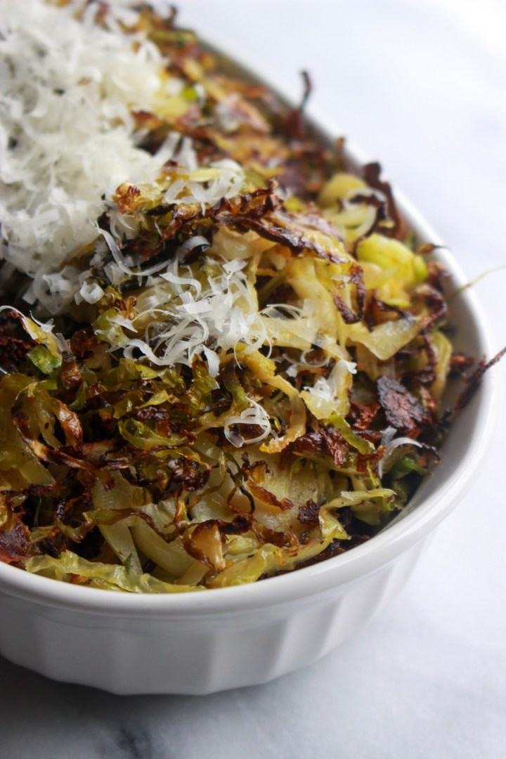 dish of crispy roasted shredded brussels sprouts