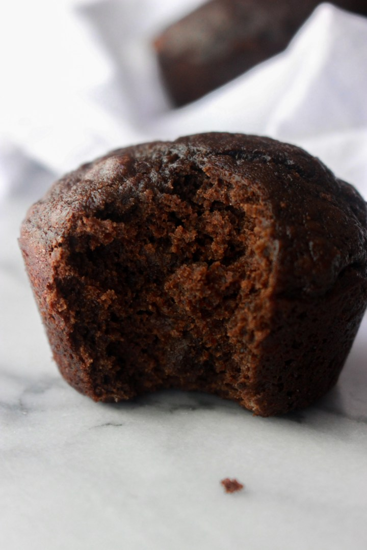 close up of chocolate banana muffin
