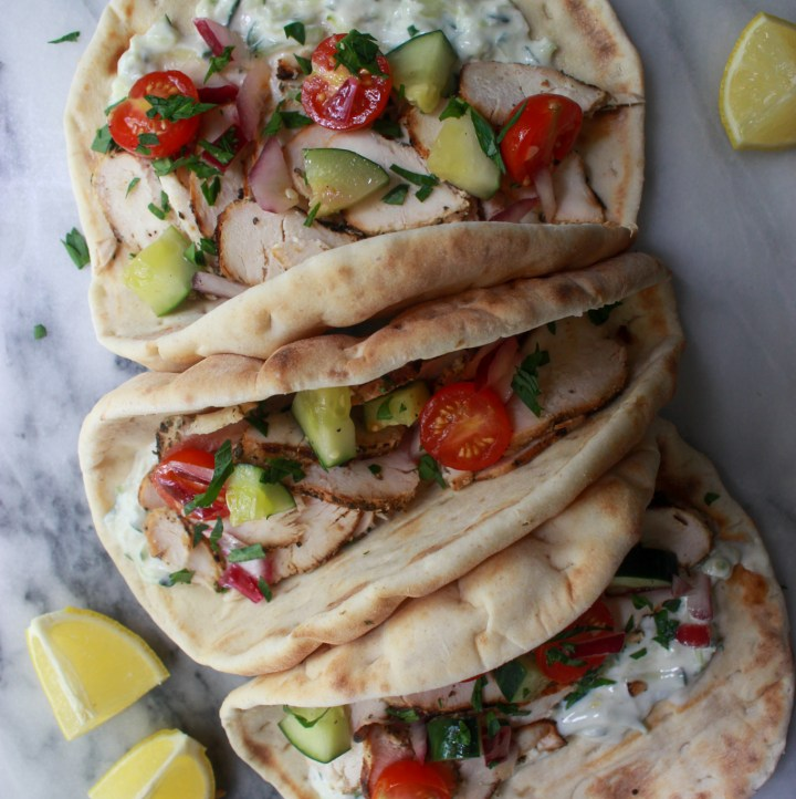 homemade grilled chicken gyros with homemade tzatziki sauce