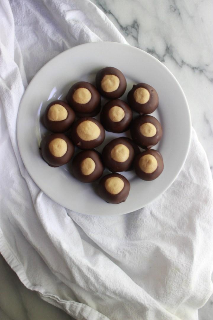 tray of homemade buckeyes