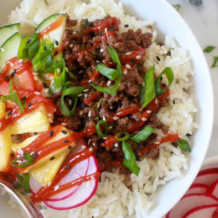 korean beef bowls with radishes, pineapple, and cucumber