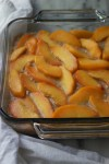 fresh peaches on baked oats