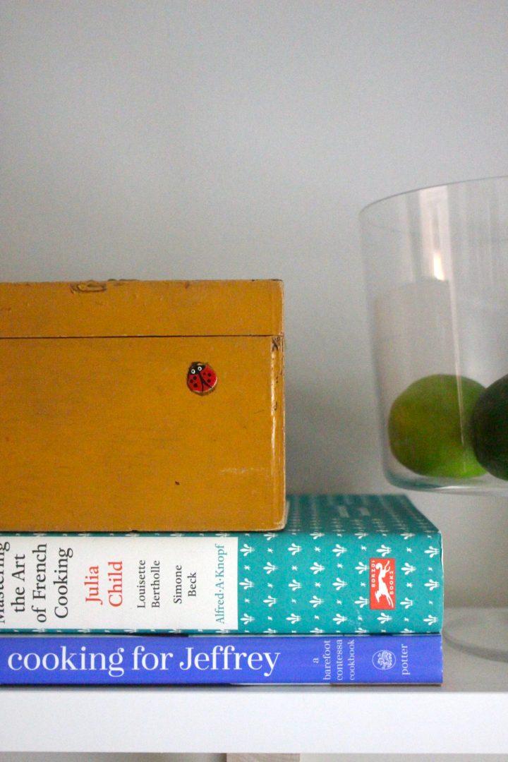 cookbooks and recipe box