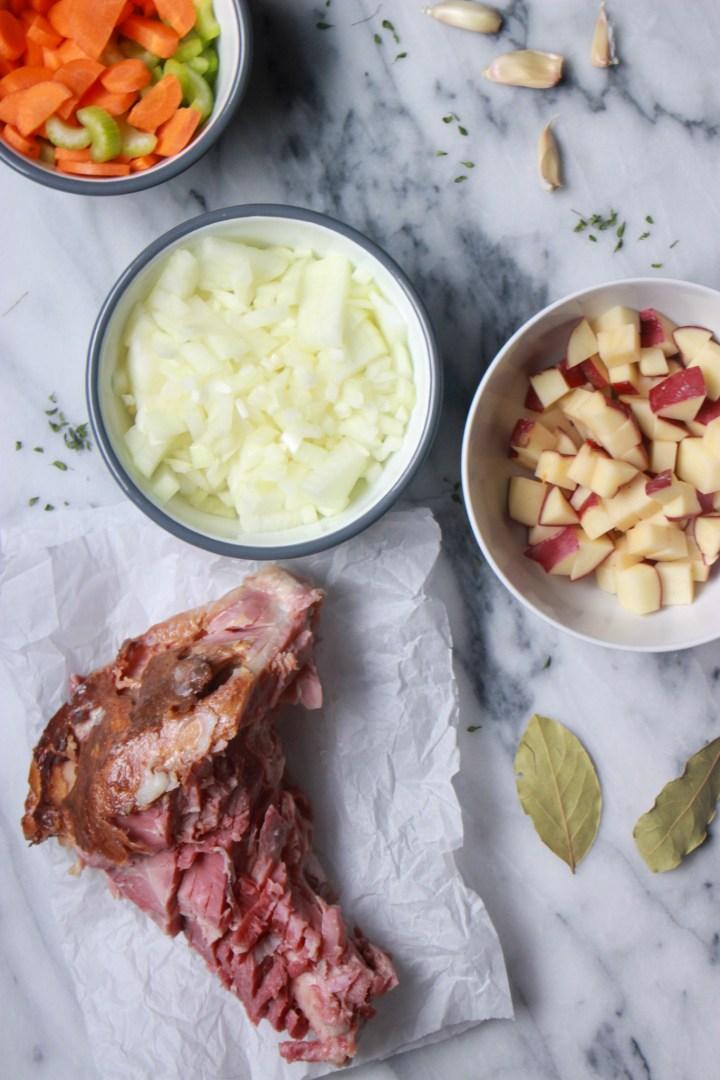 ingredients for leftover ham bone soup
