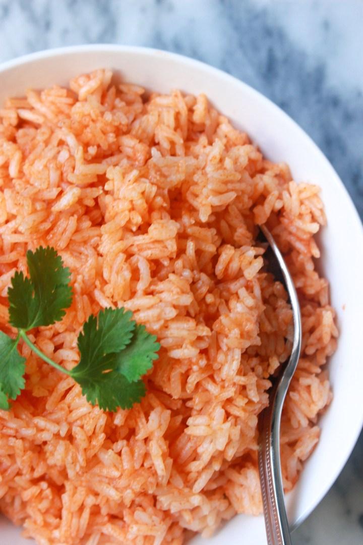 bowl of spanish rice close up