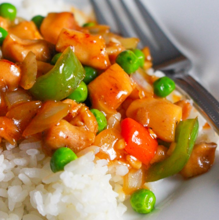 saucy stir fry over rice