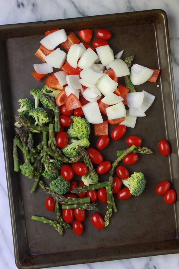 veggies on sheet pan for pasta