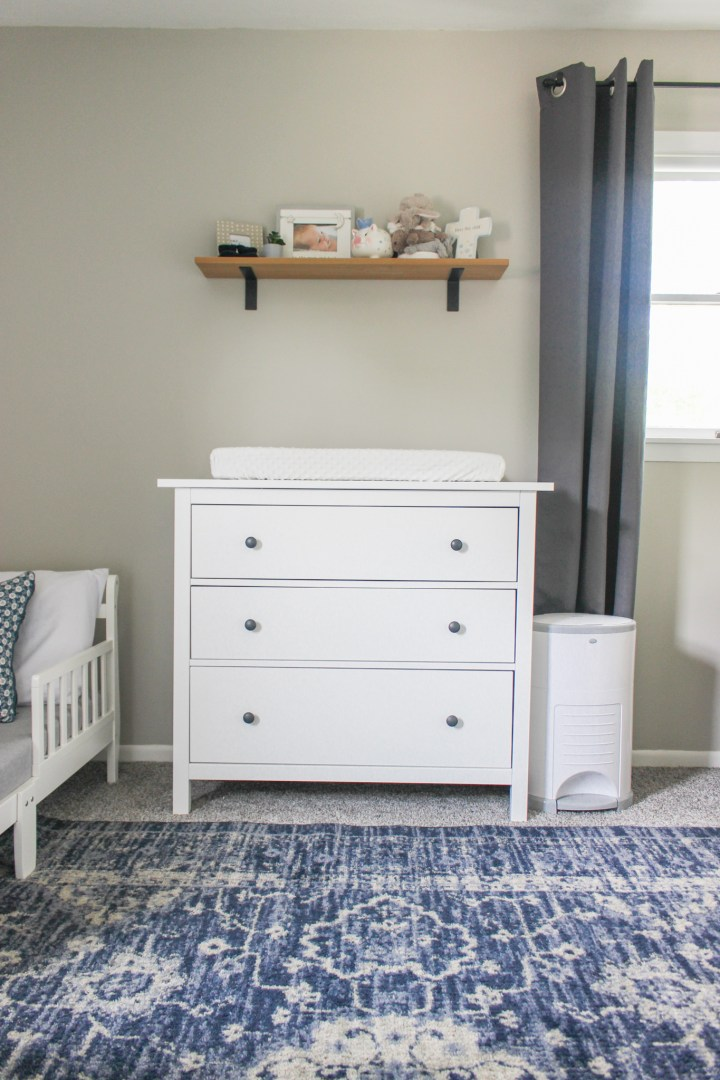 ikea hemnes with changing pad on top for storage and changing table