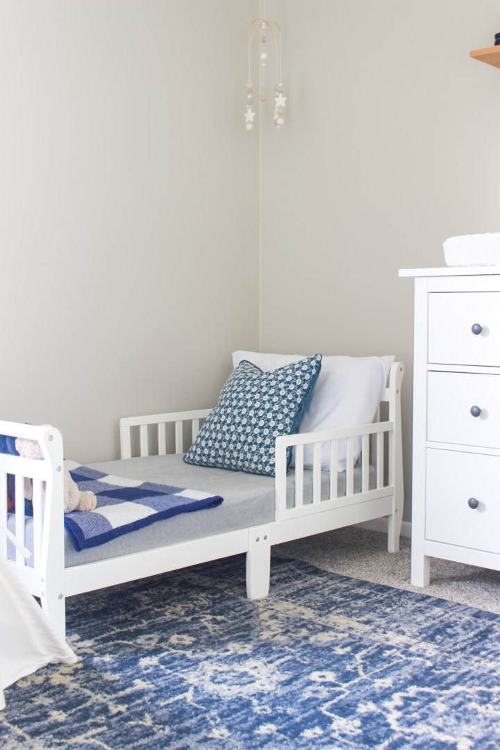 toddler bed in shared bedroom