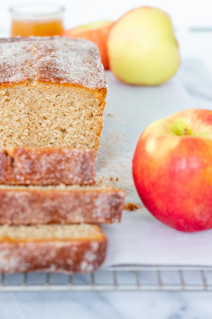 close up of apple cider donut bread slice