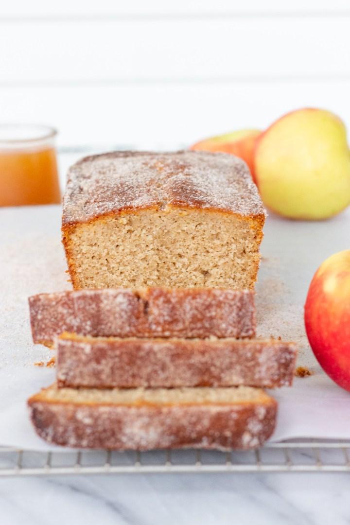 slices of apple cider donut loaf