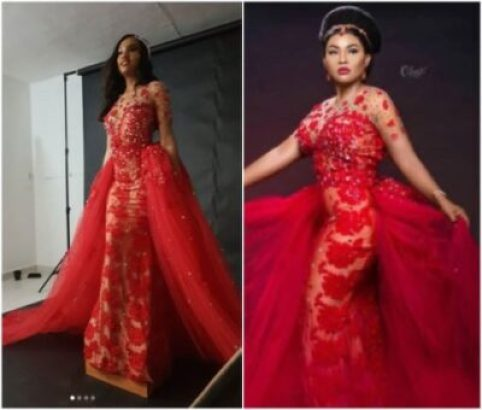 mercy-482x410 A Model Wore That Controversial Wedding Dress Before Mercy Aigbe (Photos)