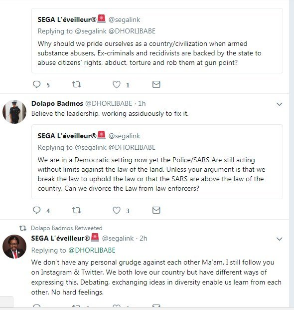 screenshot 8 - Founder Of #ENDSARS Movement And CSP Opetodalopo Badmus Exchanges Words Online